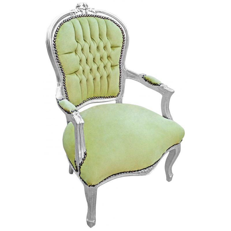 Fauteuil baroque de style louis xv vert anis et bois argent - Fauteuil cabriolet vert anis ...