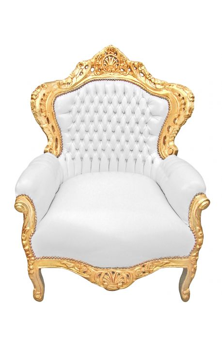 Big baroque style armchair white faux leather and gold wood