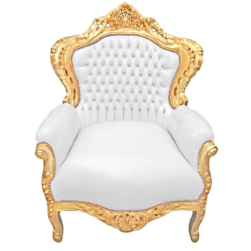 Grand baroque style armchair white faux leather and gold wood