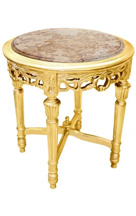 Round Louis XVI style beige marble side table with gilt wood