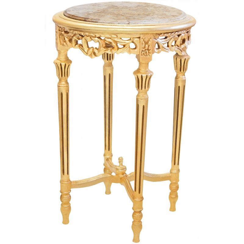High nice round golden flower table louis xvi style beige for Nice table styles