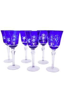 Ensemble de 6 verres bleus à pieds avec motifs floraux