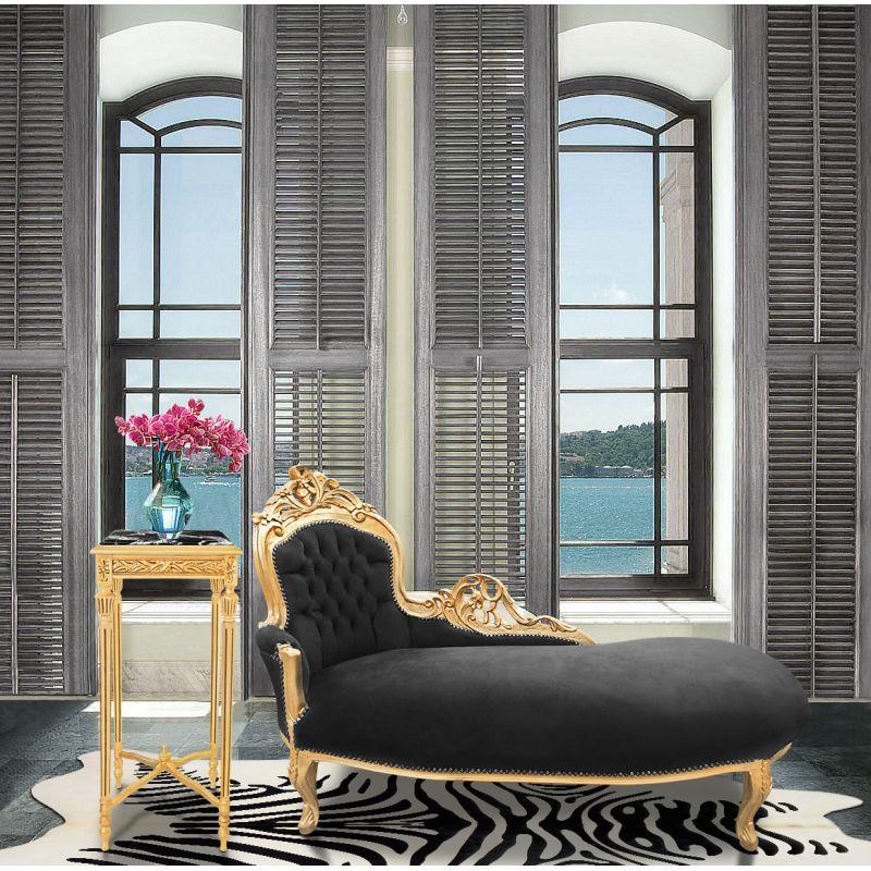 Grande m ridienne baroque tissu velours noir et bois dor - Meridienne velours ...