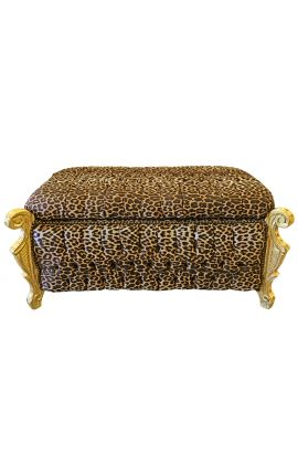 Big baroque bench trunk Louis XV style leopard fabric and gold wood
