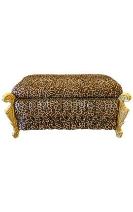 Grande banquette coffre baroque de style Louis XV tissu léopard et bois doré
