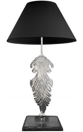 Lampe sur pied en bronze argenté, base en marbre