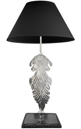 Table lamp in silver bronze black marble base