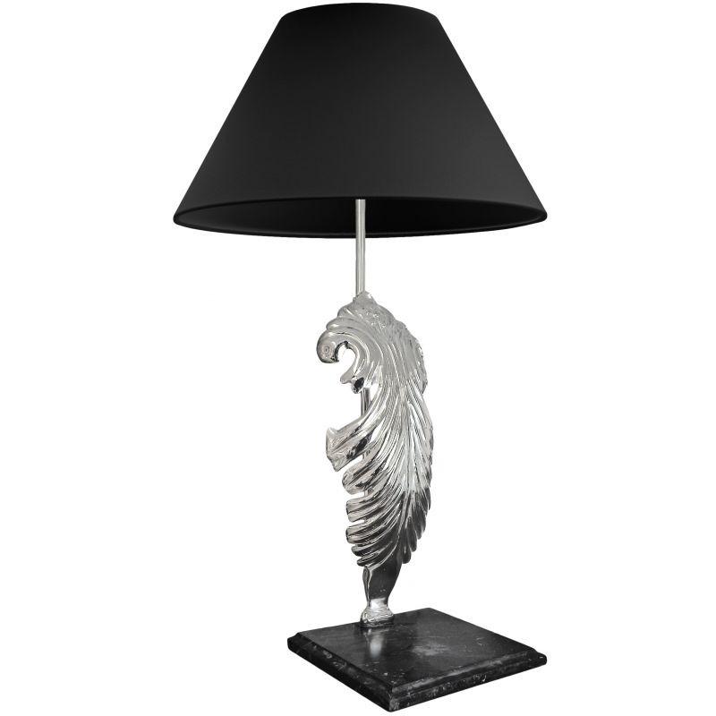 table lamp in silver bronze black marble base. Black Bedroom Furniture Sets. Home Design Ideas
