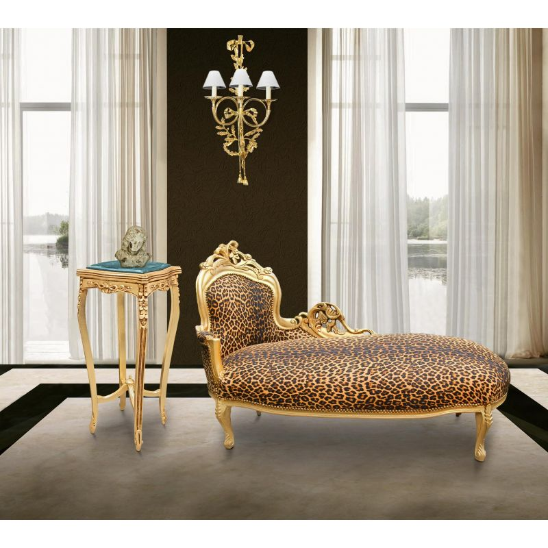 Large baroque chaise longue leopard fabric and gold wood for Large chaise longue