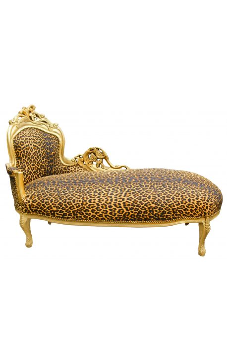 Grande méridienne baroque tissu léopard et bois doré