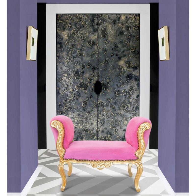 banquette baroque de style louis xv velours rose et bois dor. Black Bedroom Furniture Sets. Home Design Ideas