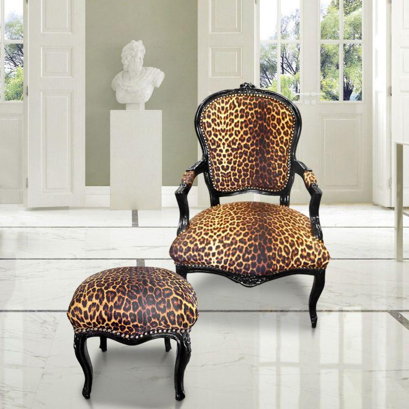 repose pied baroque de style louis xv l opard et bois laqu noir. Black Bedroom Furniture Sets. Home Design Ideas