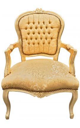Fauteuil Louis XV de style baroque tissu satiné doré et bois doré