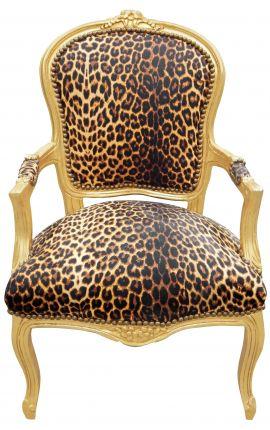 Fauteuil Louis XV de style baroque tissu leopard et bois doré