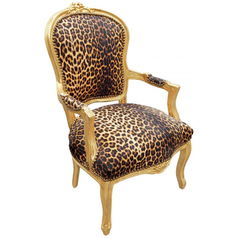 fauteuil baroque de style louis xv tissu l opard et bois dor. Black Bedroom Furniture Sets. Home Design Ideas