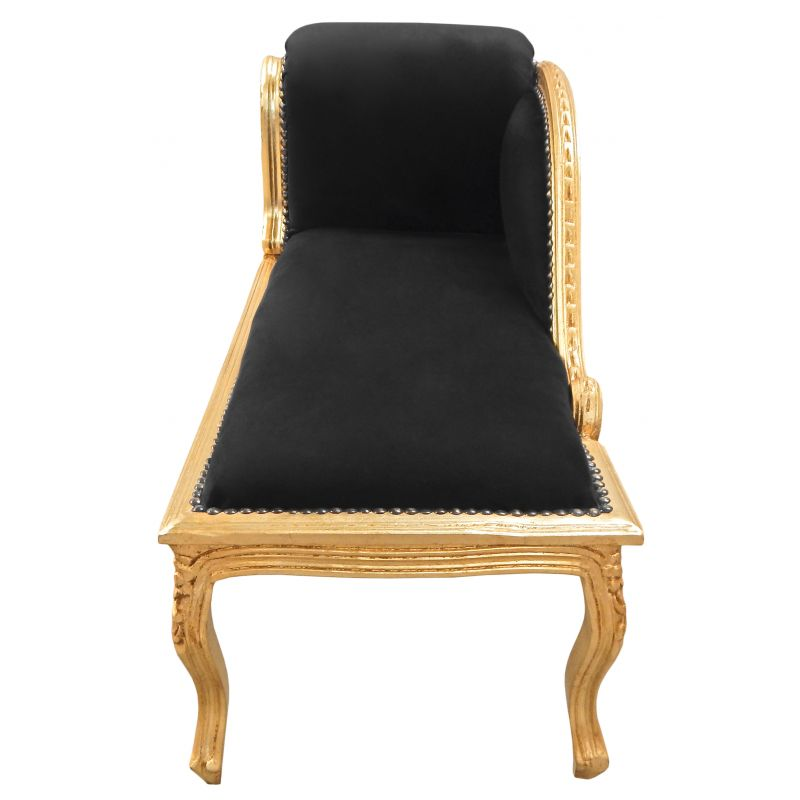 Baroque louis xv chaise longue black velvet fabric and for Black velvet chaise lounge