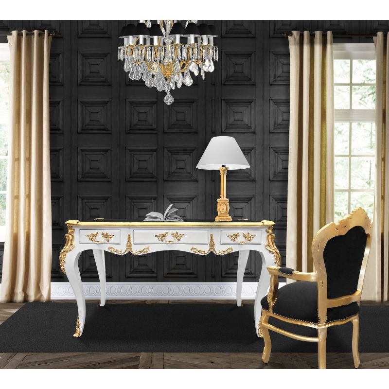 grand bureau baroque de style louis xv blanc 3 tiroirs bronzes dor s. Black Bedroom Furniture Sets. Home Design Ideas