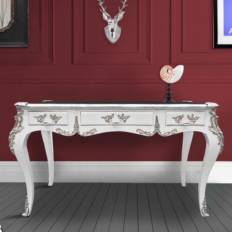 Large desk Baroque Louis XV style with 3 drawers white silver