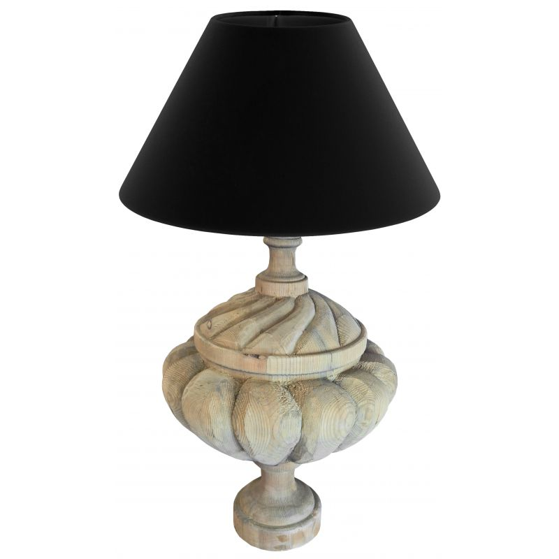 lampe balustre en bois sur pied godrons. Black Bedroom Furniture Sets. Home Design Ideas