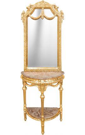 Console demi lune avec miroir de style baroque en bois doré et marbre beige