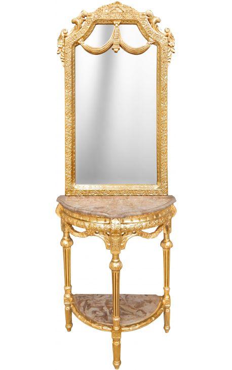 console demi lune avec miroir style baroque bois dor et. Black Bedroom Furniture Sets. Home Design Ideas