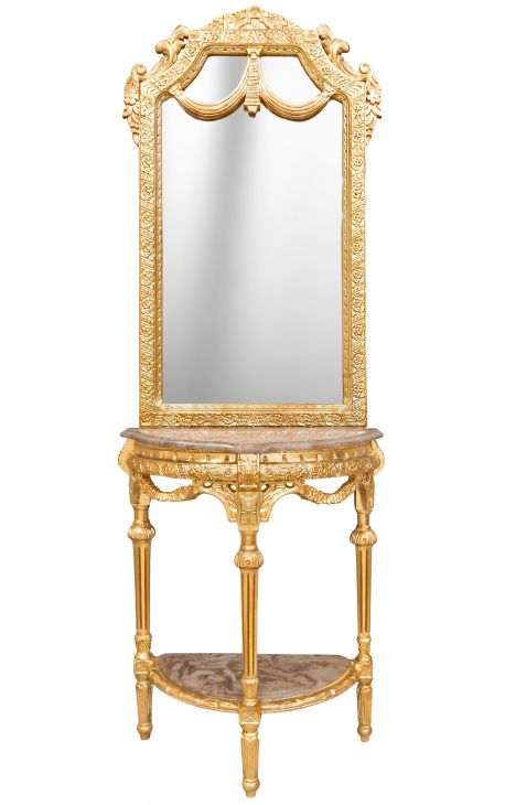 console demi lune avec miroir style baroque bois dor et marbre beige. Black Bedroom Furniture Sets. Home Design Ideas