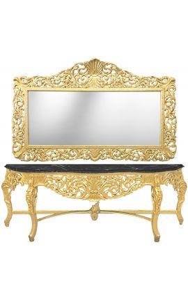Огромные консоль с деревянными стиле барокко зеркало Золотой и черны