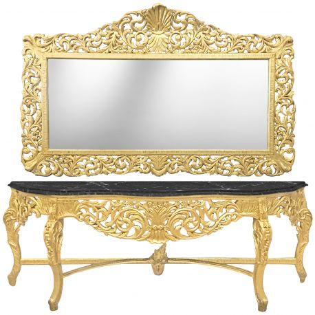 Enorme console avec miroir de style baroque en bois dor marbre noir - Miroir noir baroque ...