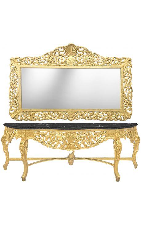 Enorme console avec miroir de style baroque en bois doré et marbre noir