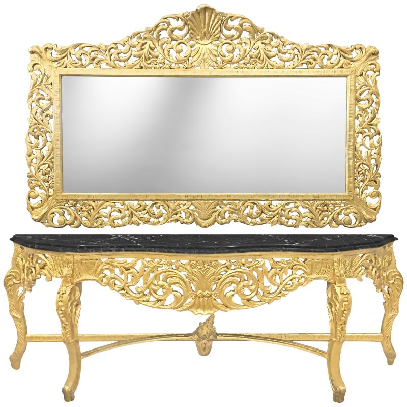 very big baroque console with mirror gilt wood and black marble. Black Bedroom Furniture Sets. Home Design Ideas