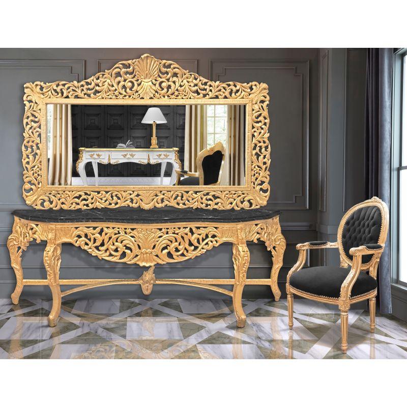 Enorme Console Avec Miroir De Style Baroque En Bois Dor Marbre Noir