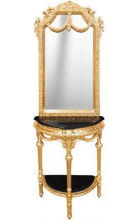 Console demi lune avec miroir de style baroque en bois doré et marbre noir