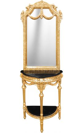 half-round console with mirror Baroque gilt wood and black marble