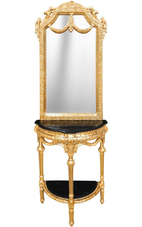 console demi lune avec miroir style baroque bois dor et marbre noir. Black Bedroom Furniture Sets. Home Design Ideas