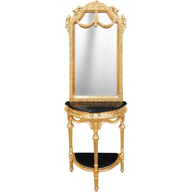 Console Demi Lune Avec Miroir Style Baroque Bois Dor Et Marbre Noir