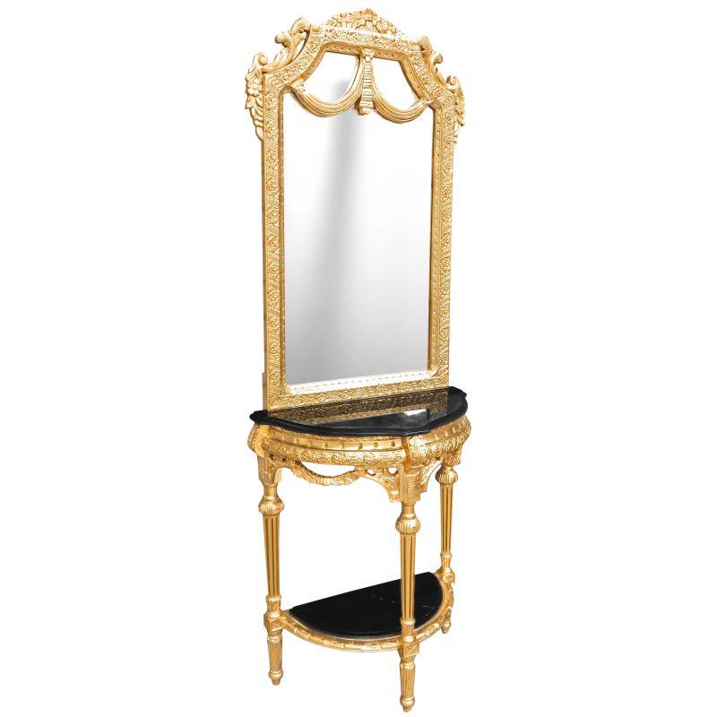 console demi lune avec miroir style baroque bois dor et marbre noir. Black Bedroom Furniture Sets. Home Design Ideas