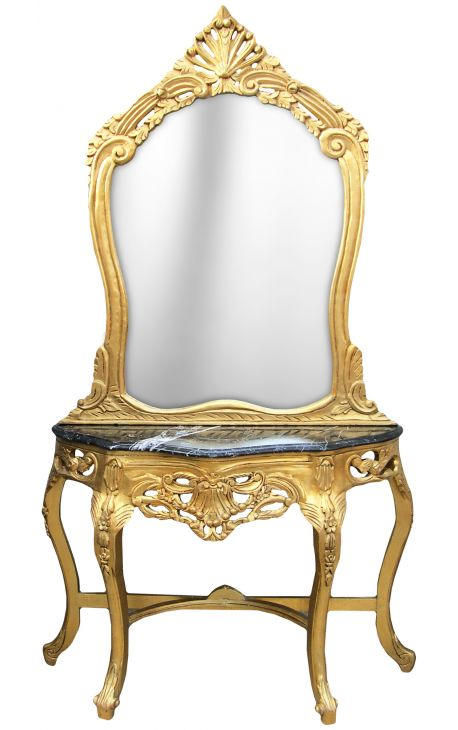 Console with mirror in gilded wood Baroque and black marble