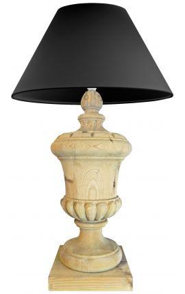 Grande lampe balustre en bois sur pied
