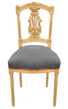 Harp chair with grey velvet fabric and gold wood