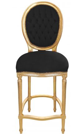 Bar chair Louis XVI style pompon black velvet fabric and gold wood