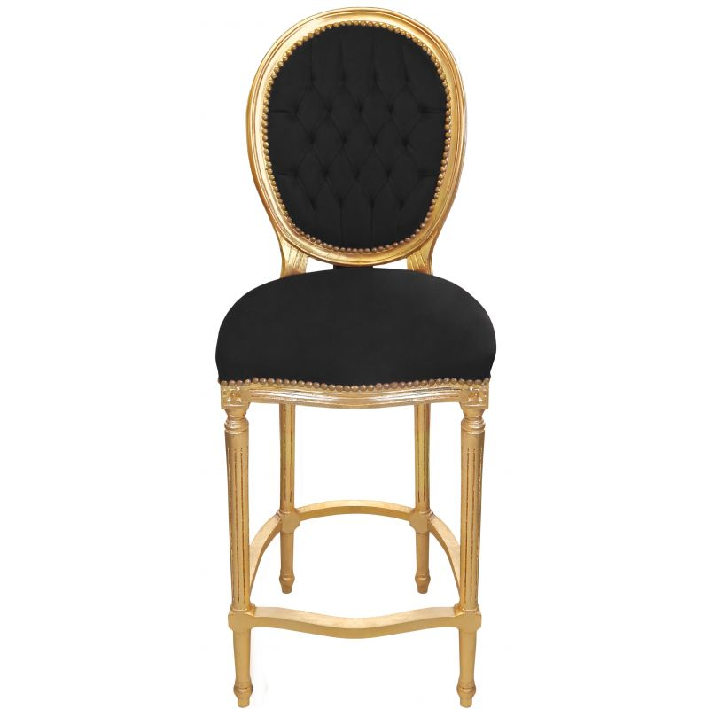 chaise de bar de style louis xvi pompon avec tissu velours noir et bois dor. Black Bedroom Furniture Sets. Home Design Ideas