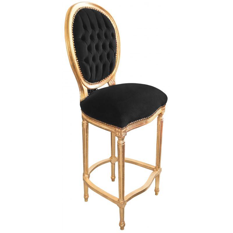 Chaise de bar de style louis xvi pompon avec tissu velours noir et bois dor - Chaise noire et bois ...