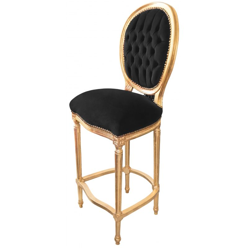 Chaise de bar de style louis xvi pompon avec tissu - Chaise tissu noir ...