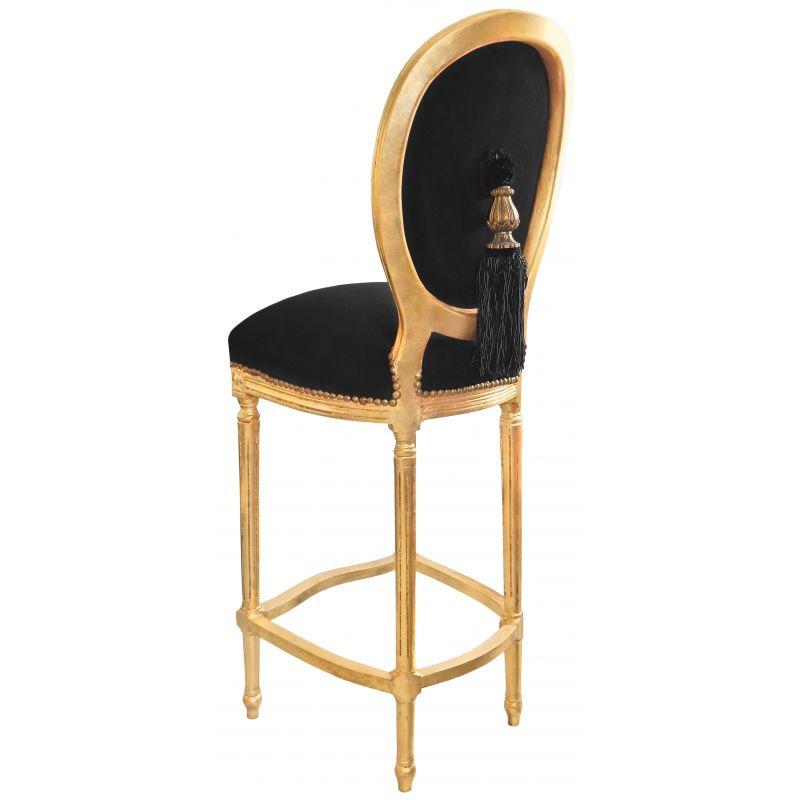 chaise de bar de style louis xvi pompon avec tissu velours noir et bois dor. Black Bedroom Furniture Sets. Home Design Ideas