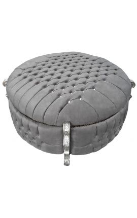 Big baroque round bench trunk Louis XV style grey velvet fabric with rhinestones and silver wood