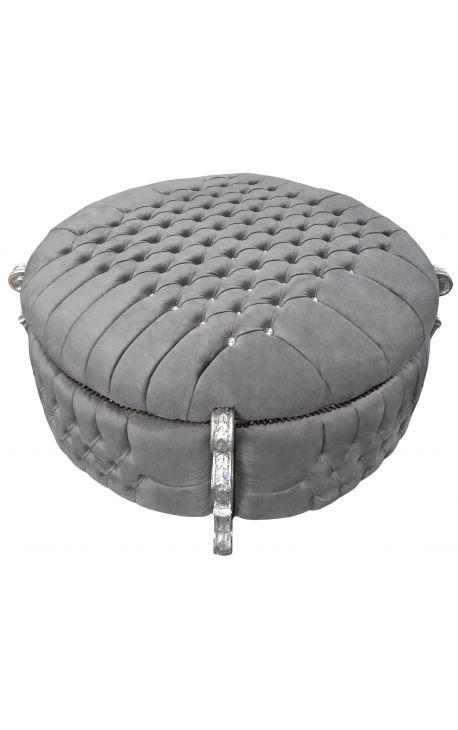 Барокко большой круглый скамейке ствол Louis XV стиль серого бархата со стразами и серебряной древесины