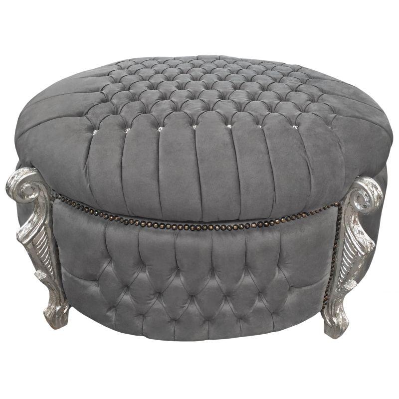 Big Baroque Bench Round Trunk Of Louis Xv Style Has Grey Velvet