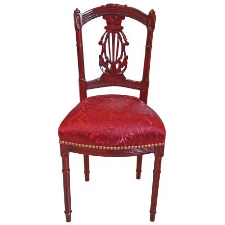 chaise harpe de style louis xvi avec tissu satin rouge et bois merisier. Black Bedroom Furniture Sets. Home Design Ideas