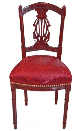 Harp chair Louis XVI style with red satin fabric and mahogany teinted wood color