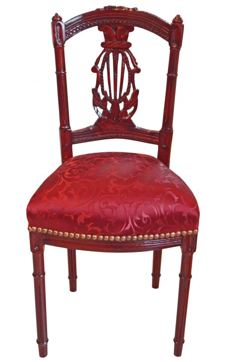 Chaise harpe satiné rouge et bois acajou